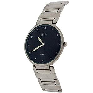 Eton Gents Black Dial Silvertone Chrome Nickel Free Bracelet Strap Watch