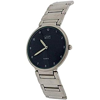 Eton Gents Black Dial Silvertone Chrome Nickel Free Bracelet Strap Watch 2071G