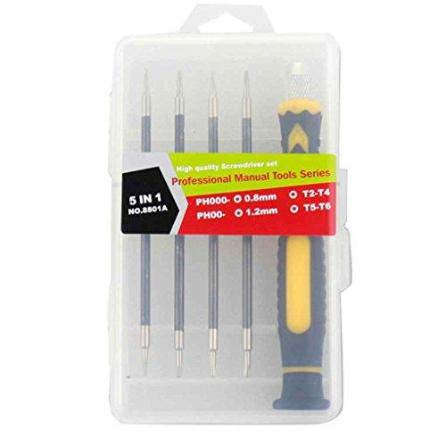 Pegcdu 5-in-1 Pr?zisions-Schraubendreher-Set Home Repair Mini magnetisches Schraubenzieher Kit Handy-Uhr-Reparatur-Werkzeug