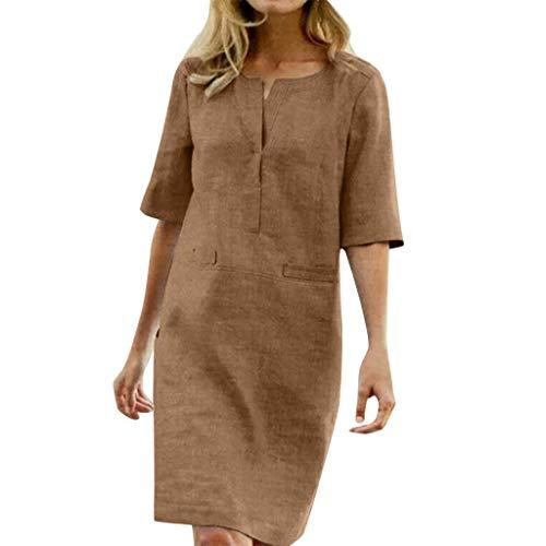 TEFIIR T-Shirt für Frauen, Preisnachlass für Oktoberfest, Leistungsverhältnis Frauen 1/9 Hülse beiläufiges festes knielanges Hemd-Kleid-Büro-Kleid Geeignet für Freizeit, Urlaub und Dating Jersey Wrap Front Dress