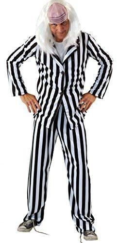 Beetlejuice 80s Movie Costume with Wig for Men - Plus Sizes XL, XXL, XXXXL