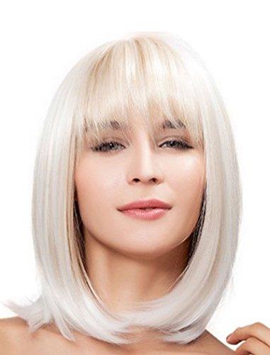Falamka Naturel de longueur épaule pour femme Style Bob droite Blond résistant à la chaleur Cosplay Perruque de cheveux complète