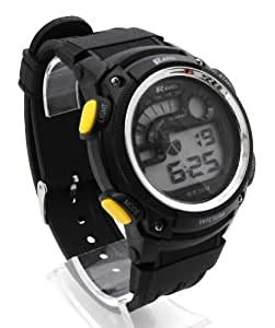 Ravel  Mens Digital LCD Chronograph Sports Watch - Gift Boxed - Multi Functional- 15-22cm Strap - 3ATM - Yellow