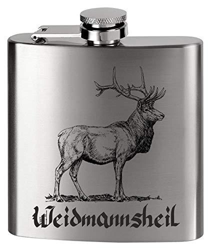 MCK Austria Design Flachmann Metall - Bedruckt anstelle Gravur - für den Jäger & Jagdt Fan - Weidmannsheil Hirsch