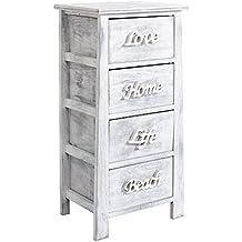 Rebecca Srl Cajonera Mueble Auxiliares Comoda 4 Cajones Decapado Blanco Gris Vintage Dormitorio Entrada Salon (Cod. RE4555)