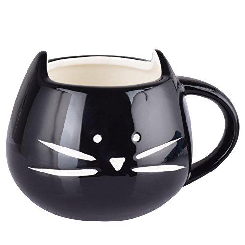 Itian Taza de Porcelana de Animales Gato Hermoso, Lindo Tazón de Cerámica, Café / Té / Leche / Agua (Negro)