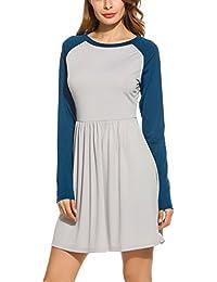 f473d2b914f Meaneor Damen Elegant Jersey Langarm Kleid Wickelkleid A-Line Herbstkleid  Cocktailkleid Partykleid…