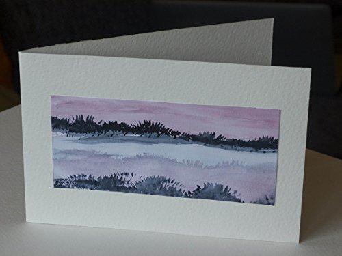 Weihnachtskarte 'Landschaft No 1' Aquarell Unikat Kunstkarte Klappkarte Grußkarte