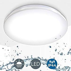 B.K.Licht I 12W LED Bad-Deckenlampe I 4.000K Neutralweiß I 1.200 Lumen I Ø29cm I IP44 Spritzwasserschutz I Badezimmerlampe flach I LED Deckenleuchte