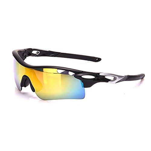 Sport-Sonnenbrille für Herren, 3 Stück, austauschbare Gläser, UV400-Schutz, Photochromische Sport-Sonnenbrillen, Set zum Fahren, Radfahren, Laufen, Angeln, Golf, geeignet für Golf, Angeln Schwarz