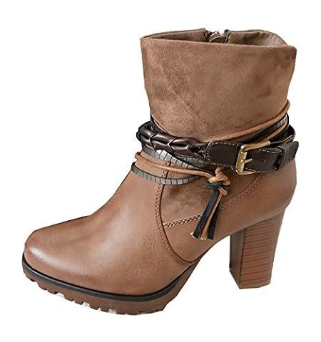 bequeme Plateau Stiefelette Ankle Bootie High Stiefel Riemen Bänder Reißverschluss Kunstleder (8294) (36, braun)