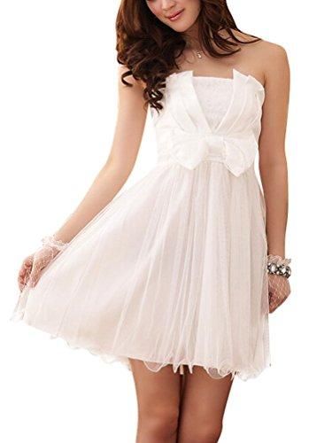 Brinny Damen Brautjungfer Kleid Minikleid Cocktailkleid Kurz Bandeau mit Abnehmbaren Transparenten Träger in Verschied. Farben Weiß