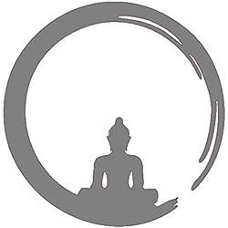 Vinilo Decorativo Buda Zen .(60x60cm aprox.) color gris.