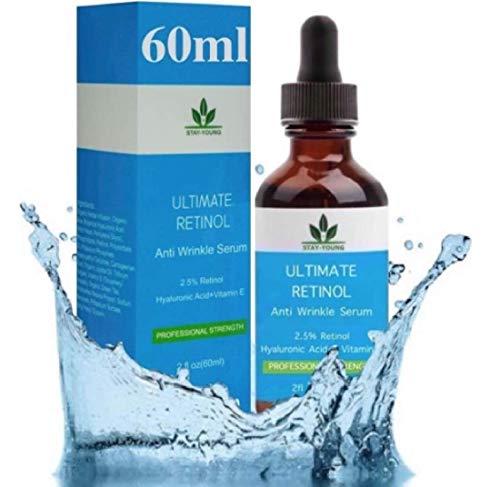 Retinol Serum 60ML-FLASCHE! Retinol Gesichts Serum 2,5% mit Hyaluronsäure & Vitamin E, Bestes Anti Aging Retinol Serum für Augenringe,...