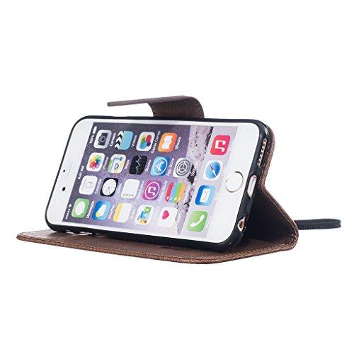 Custodia per iPhone 5, iPhone 5S, iPhone SE Custodia, con protezione per lo schermo in vetro temperato], fatcatparadise (TM) [Cavalletto] Elegante Vintage Pressed Feather Bird Pattern Design Retro Fli Coffee