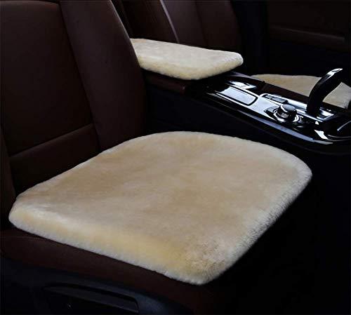 DIELIAN Weiches Luxuriöses Woll Sitzkissen Pad Winter Matte Universal Fit Für Komfort In Auto, Flugzeug, Büro Oder Zu Hause,Beige -