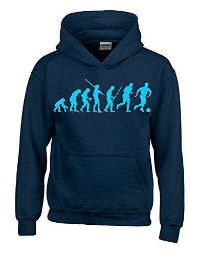 FUSSBALL Evolution Kinder Sweatshirt mit Kapuze HOODIE navy-sky, Gr.140cm (Fußball-fußball Sweatshirt)
