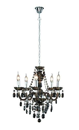 Reality Leuchten Kronleuchter Lüster 5-flammig / aus schwarzem Acryl / 5x E14 maximal 40 W ohne Leuchtmittel / ø: 52 cm R1107-02