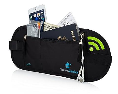 Flache Bauchtasche mit RFID-Blockierung Geldversteck Multifunktional Geldgürtel Hüfttasche Laufgürtel Brustbeutel zum Sport Reisen Fitness oder Joggen