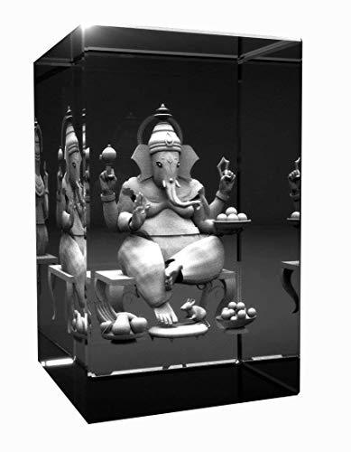 3D Glas Kristall Quader I Ganesha   Hinduismus Buddhismus Hindi Buddha graviert in einen Glaskristall Abmessungen 80x50x50mm