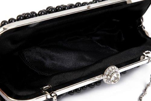 Damara Medium Perle Strassstein Damen Clutch Handtasche,Weiß Weiß