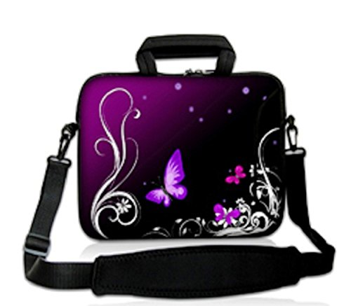 ChaoDa Laptop-Schultertasche (geeignet für Apple MacBook Pro, Dell Inspiron 15 Alienware M15X, ASUS A53 N53 N55 X54, HP dv6, SAMSUNG, Acer, Aspire, Lenovo, Sony Vaio, für Diagonale von 38 cm (15 Zoll) und 39,6 cm (15,6 Zoll), Design 'Violetter Schmetterling'