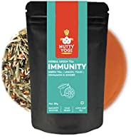 Nutty Yogi Immunity Tea | Herbal Green Tea with Tulsi, Lemon, Cinnamon & Ginger I Ayurvedic Blend I 50g |