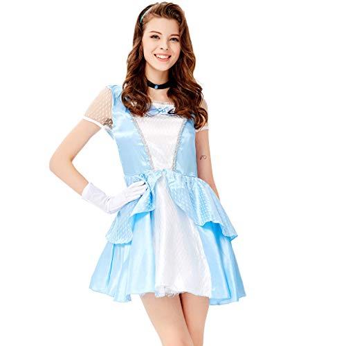Battnot Halloween Kostüm für Damen Kleid Anzug, Frauen Prinzessin Cosplay Party 5-teiliges Set Outfits Kopfbedeckung+Kleidung+Handschuhe+Krawatten+Rockspangen Patchwork Kleidung Womens Dress Blau