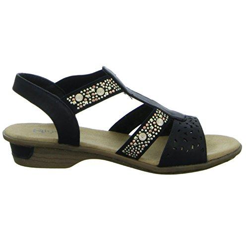 Alyssa A800 Damen Sandalette sportlicher Boden Schwarz (Schwarz)