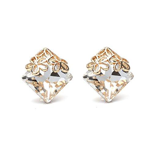 Weiß Diamant Form Kristall mit Necklaces Halskette Flower Clip auf Ohrringe (Kinder Ideen Für Valentine)