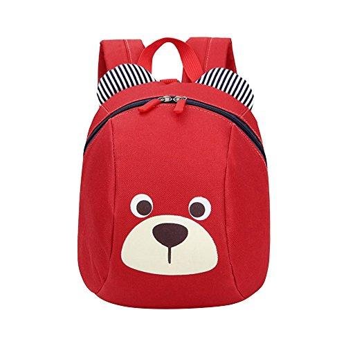 Skang Baby Jungen Mädchen Kindergarten Karikatur Bär Anti-verloren Rucksack Mit Reißverschluss Daypacks Schüler Bag Reisetasche(Einheitsgröße,Rot)