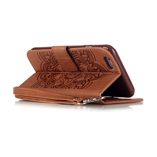 iPhone 6S Plus Coque, iPhone 6 Plus Coque, Lifeturt [ Violet Campanula ] Leather Case Wallet Flip Protective Cover Protector, Etui de Protection PU Cuir Portefeuille Coque Housse Case Cover Coquille C E02-Brown Campanula