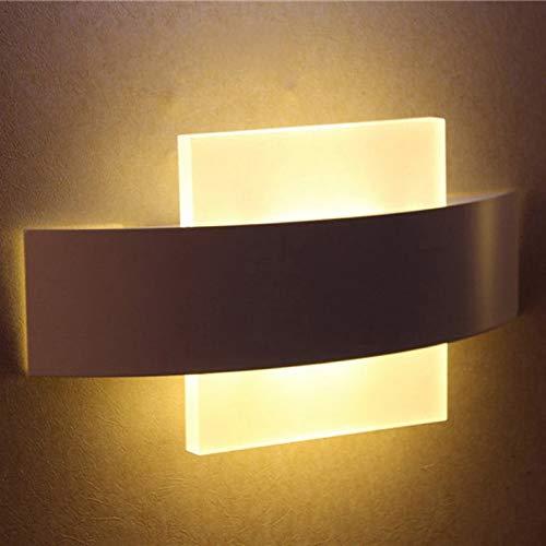 Natur-eisen-wandleuchte (HNZZN Moderne kurze schlafzimmer nacht acryl 6 watt LED wandleuchte lampe home deco weiß eisen doppel beleuchtung wandleuchte, Natur Weiß (3500-5500 Karat))