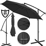 Kesser® Alu Ampelschirm Ø 300 cm ✔mit Kurbelvorrichtung ✔UV-Schutz ✔Aluminium ✔Wasserabweisende Bespannung - Sonnenschirm Schirm Gartenschirm Marktschirm Anthrazit Grau