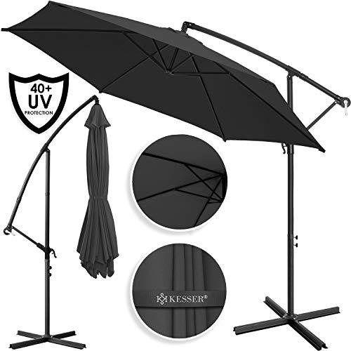 Kesser® Alu Ampelschirm Ø 350 cm ✔mit Kurbelvorrichtung ✔UV-Schutz ✔Aluminium ✔Wasserabweisende Bespannung - Sonnenschirm Schirm Gartenschirm Marktschirm Anthrazit Grau
