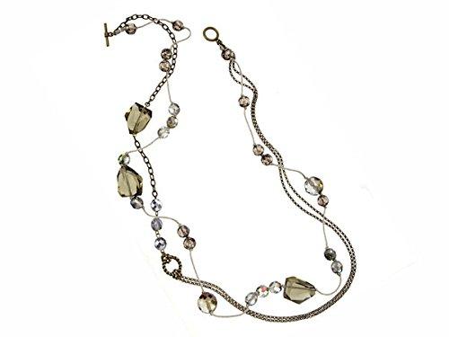 Halskette lang Anhänger Rauchquarz Geschenk für Damen (Trendige Gerippt)