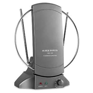 Auna - Antenne TV d'intérieur, capte l'ensemble des signaux : TNT UHF, VHF et FM, livrée avec cable TV, récepteur optimal - design circulaire pour réception maximale