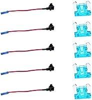 10Pcs 12V Car Add-a-circuit Low Profile Mini Fuse Tap Adapter Mini Blade Fuse Holder with 5Pcs 15A Fuses