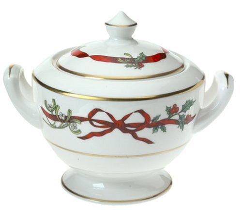 Royal Worcester Holly Ribbons Bone China Covered Sugar Bowl by Royal Worcester China Sugar Bowl