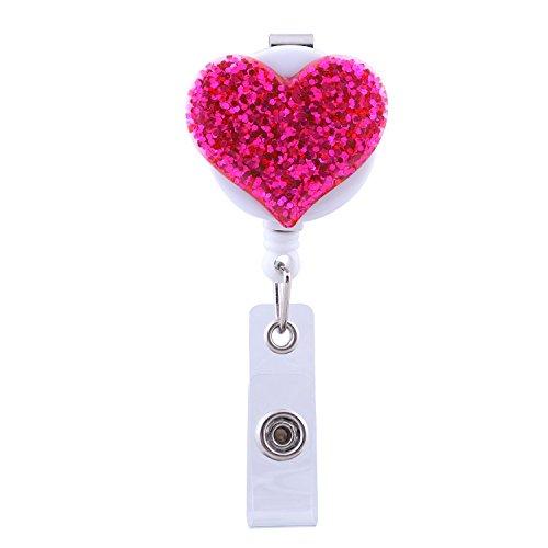 Soleebee Carrete Retractable de la Insignia de 720mm, Sostenedor Chispeante de la Identificación de la Enfermera del Corazón del Amor con el Clip de la Correa (Rosa caliente)