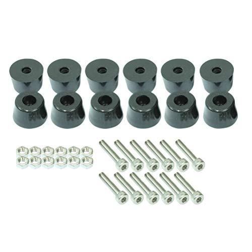 YeahiBaby 12-teiliges Gummifuß-Stopper mit Innensechskant-Schrauben, M4 x 50 mm, Mutter 36 Stück - Gummifüße Schrauben