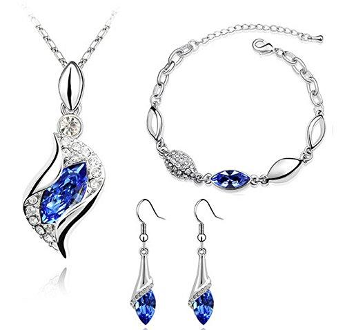 Set de collar, pendientes y pulsera de aleación con cristal azul