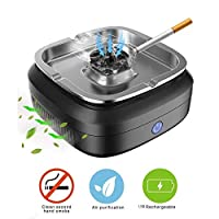 Peedeu Smokeless Ashtrays,USB Rechargeable Ashtray Air Purifier For Indoor Outdoor Use At Home/Office/Car,with Adjustable Wind Speed,Detachable,Easy Operation