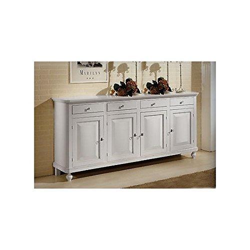 Estea mobili - mobile base credenza napoletana 4 ante arte povera laccata bianca o avorio - 440 - come foto