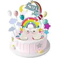 iZoeL 21 pezzi Unicorno Cake Topper Kit Nuvola Arcobaleno Palloncino Buon Compleanno Banner Decorazione Torta Per Ragazzo Ragazza Compleanno Del Capretto