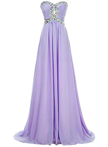 Azbro Women's Strapless Rhinestone Bridesmaid Long Prom Dress Light Purple