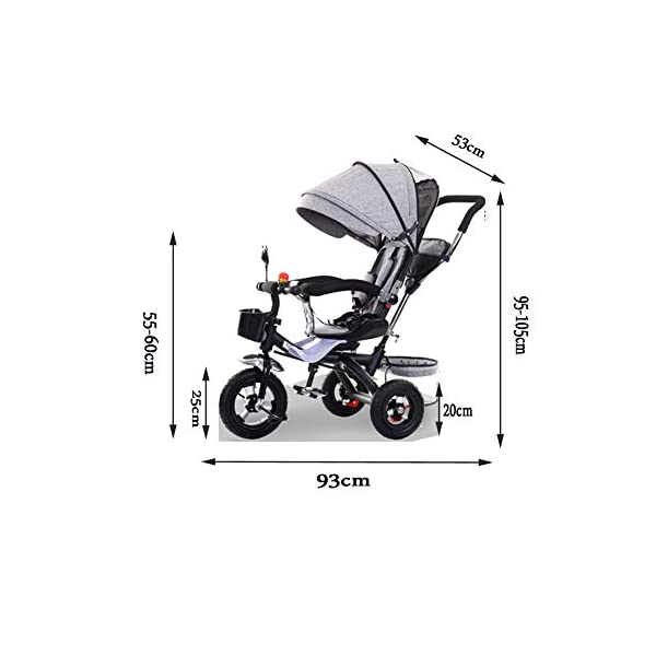 Haojiechunxiang Children's Tricycle Bicycle Baby Baby Stroller Child Car Bicycle Seat,B  ●Delivery Time 10-20 days. Please contact us if you cannot receive the order after 30 days.Return range 30 days ●Double brakes on the rear wheels, stop the brakes when parking to prevent the car from rolling ●A multi-purpose car, suitable for babies of different ages, according to the baby's different age stages, can be disassembled corresponding configuration 4