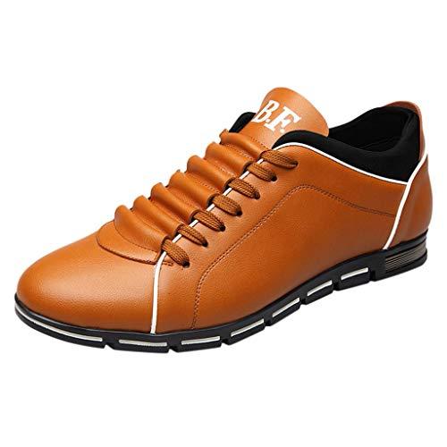 YU'TING - Scarpe Sneakers Eleganti da Uomo Moda Casual Business in Pelle Tinta Unita con Punta Arrotondata Scarpe da Ballo Moderne da Ginnastica da Trekking