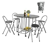 House in a box Folding Dining Table Set, Breakfast Kitchen Restaurant 1 Table 4 Chairs Black Wooden Metal