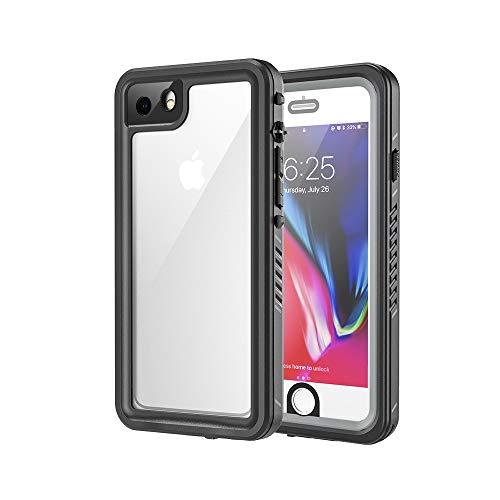 Lanhiem für iPhone 7 Hülle, iPhone 8 Hülle, [IP68 Zertifiziert] Wasserdicht Handy Hülle mit Eingebautem Displayschutz, Stoßfest Staubdicht und Unterwasser Outdoor Schutzhülle, Schwarz+Grau